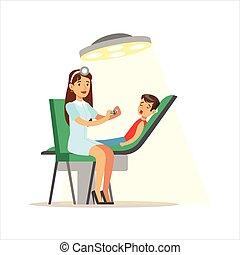 médico feminino, verificar, exame médico, pediatra, exame, ...