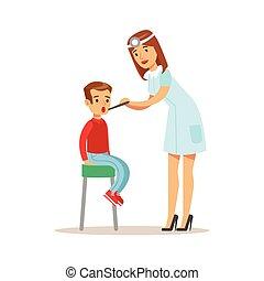 médico feminino, verificar, exame médico, pediatra, exame,...