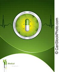 médico, fondo verde