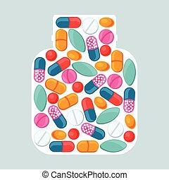 médico, fundo, com, pílulas, e, cápsulas, forma, de, garrafa