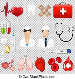 médico, fundo, equipments, ferramentas, transparente, ícones