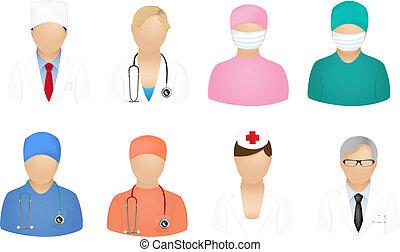 médico, gente, iconos