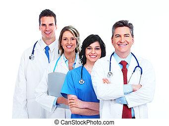 médico, group., doutores