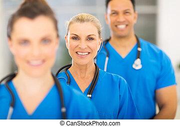 médico, grupo, trabalhadores