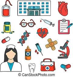 médico, hospitalar, doutor, ícones