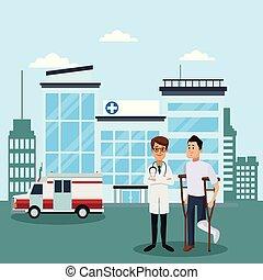 médico, hospitalar, equipe