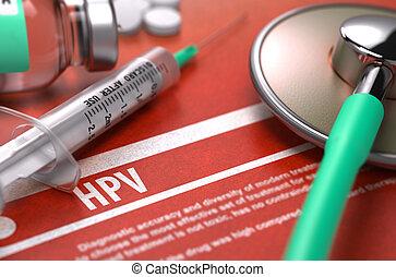 médico, -, hpv, impreso, diagnosis., concept.