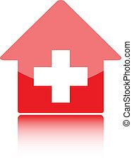 médico, icono, con, rojo, hospital, symbolor, suizo, hogar, o, suizo, banco