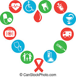 médico, imagem, consistindo, coração, ícones