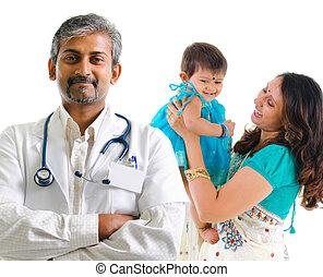 médico, indianas, paciente, doutor familiar