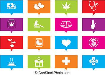 médico, indicador, marijuana, rectángulo