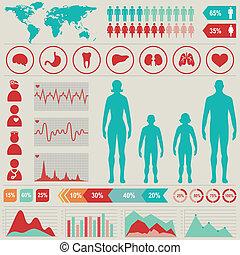 médico, infographic, conjunto, con, gráficos, y, otro,...