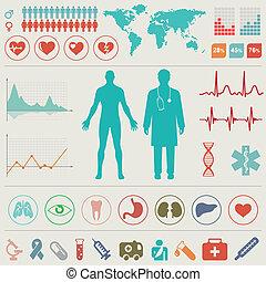 médico, infographic, conjunto
