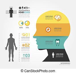 médico, infographic, desenho, modelo, /, lata, ser, usado, para, infographics, /, horizontais, cutout, linhas, /, gráfico, ou, site web, esquema, vetorial