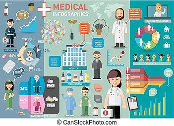 médico, infographic, elementos