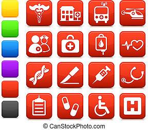médico, internet, hospital, colección, icono