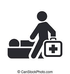 médico, isolado, ilustração, único, vetorial, ícone