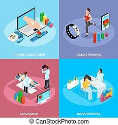 médico, isometric, conceito, tratamento, digital