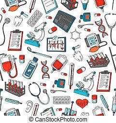médico, itens, vetorial, seamless, padrão
