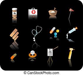 médico, jogo, ícone