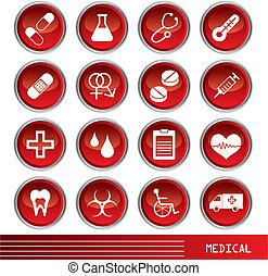 médico, jogo, ícones