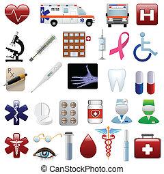 médico, jogo, hospitalar, ícones