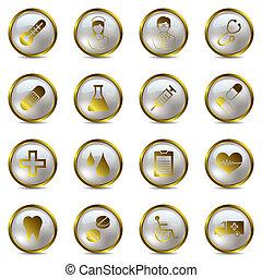 médico, jogo, ouro, ícones