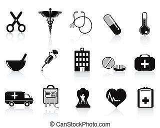 médico, jogo, pretas, ícones