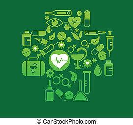 médico, jogo, saúde, crucifixos, ícone