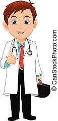 médico joven, arriba, pulgar