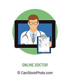 médico línea, concepto