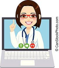 médico línea, mujer