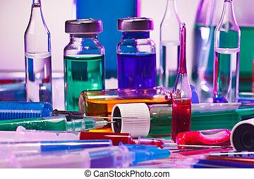 médico, laboratório, vidro, equipamento, vida, ligado, azul, roxo