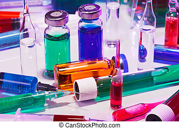 médico, laboratorio, vidrio, equipo, naturaleza muerta, en, azul, púrpura