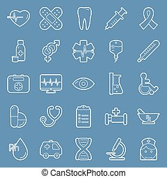médico, linhas, ícones, jogo