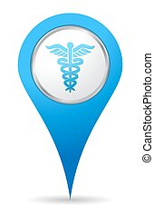 médico, localização, ícone