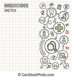 médico, mão, desenhar, integrada, ícone, jogo, ligado,...