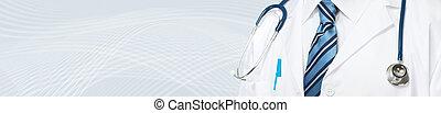 médico médico, con, estetoscopio