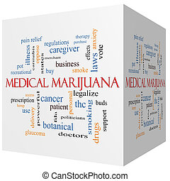 médico, marijuana, 3d, cubo, palabra, nube, concepto