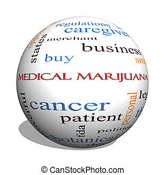 médico, marijuana, 3d, esfera, palabra, nube, concepto