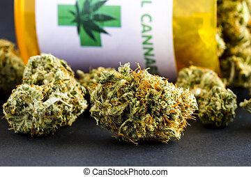 médico, marijuana, brotes, en, fondo negro