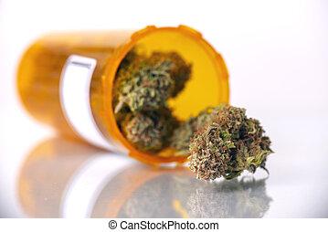 médico, marijuana, concepto, con, seco, cannabis, brotes, aislado, blanco