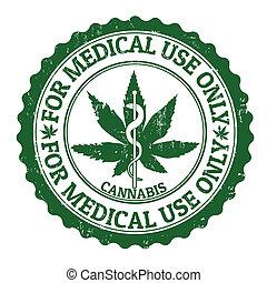 médico, marijuana, estampilla