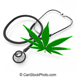 médico, marijuana, -, hoja cannabis, y, estetoscopio