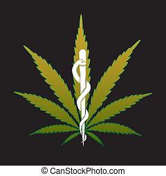 médico, -, marijuana, ilustração, reciept, cannabis