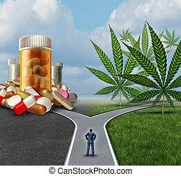 médico, marijuana, opción