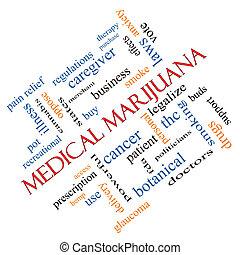 médico, marijuana, palabra, nube, concepto, angular