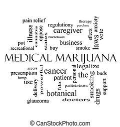 médico, marijuana, palabra, nube, concepto, en, negro y blanco