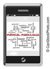 médico, marijuana, palabra, nube, concepto, en, touchscreen, teléfono