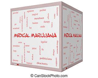 médico, marijuana, palabra, nube, concepto, en, un, 3d, cubo, whiteboard